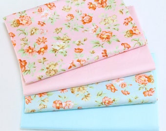 4702 - Flower & Solid Color Cotton Fabric - 62 Inch (Width) x 1/2 Yard (Length)