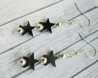 Star Earrings, Hematite Earrings, Dangle Earrings, Shooting Stars, Boho Earrings, Gunmetal Earrings, Star Drop Earrings, Gift For Her