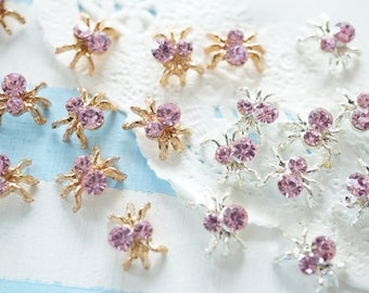 SALE Limited Stock 5 pcs Teeny Metal motifs/ Resin inserts inclusions / Spider AZ091