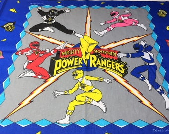 Vintage Mighty Morphin Power Rangers Fabric Panel to Make Pillow Quilt or Wall hanging, 1990s Power Rangers Character Fabric Panel