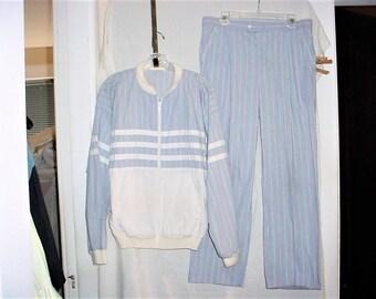 Vintage Mans Dior 80s Blue White Striped Suit M Jacket Pants Poly Cotton Blend