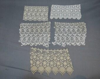 4 Pieces of Wide Antique Laces, Victorian Edwardian Cotton Lace Lot Remnants