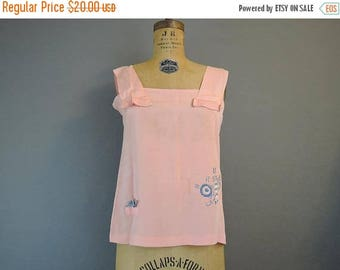 20% Sale - Vintage 1920s Peach Silk Top with Embroidery 34 bust - AS IS Damaged