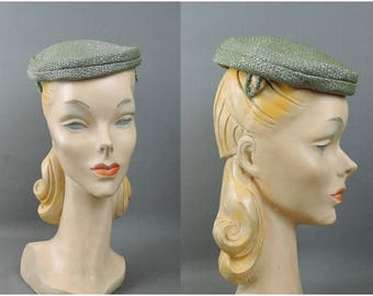 Vintage Green Hat, Iridescent Fabric Topper Hat, 1960s Cocktail Hat