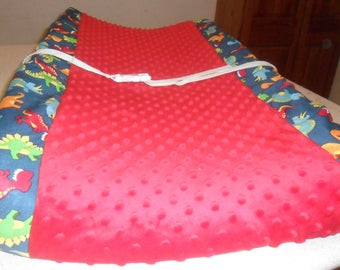Blue Dinosaur and Red Minky Changing Pad Cover