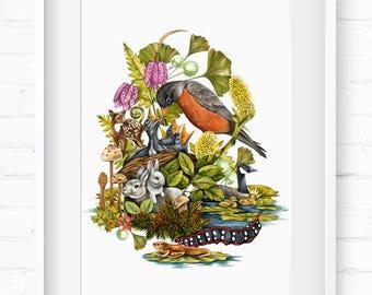 Spring in Nature, Home Decor, Wall Art, Art Print, Wall Decor, Giclée Print, Animal Print, Nursery Art, Children's Wall Art, Spring Animals