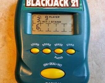 Radica Pocket Blackjack 21 Handheld Electronic Game Great Working Condition