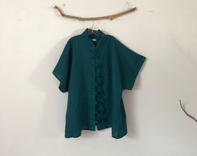 custom linen asian capped sleeve blouse jacket / frog toggles linen blouse jacket / plus size fit / custom size and color / drop sleeves