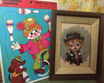 Vintage 60s 70s Little Clown wall hanging and puzzle