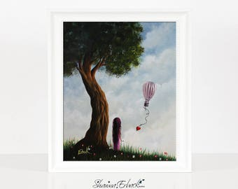 Message To Heaven - Bright And Whimsical Art - Limited Edition Print - Daughter Gift Idea - Signed by Artist - Erback Art - Hot Air Balloon