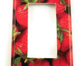 Rocker Switch Plate Strawberry Wall Decor  Light Switch Cover Switchplate in  Very Berry (249R)