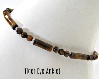 Tiger Eye Anklet,  Foot Jewelry, Beaded Ankle Bracelet, Browns, Body Jewelry, Gemstone ,BOHO Anklet, MInimalist, Bohemian, #1276