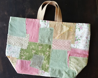 Patchwork Tote Project Bag Reusable Market tote or Gift Bag