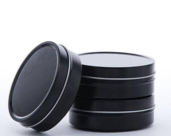New Years Sale 6 Pack Black Shallow 2 Ounce Round Tins Great for candles, tinctures, salves, dry goods