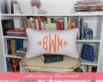 Large Applique Monogram Pillow Cover - 12 x 20 OR 12 x 26 Lumbar Pillow Cover