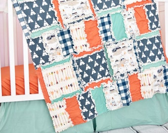 Tribal Crib Bedding - Orange / Navy / Mint Baby Boy Crib Set - Arrow Nursery Decor- Hunting Nursery - Native American Camping Crib Set