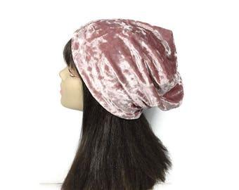 CUSTOM SIZE HATS Mauve Velvet Panne Slouchy Beanie Dusty Rose Slouch Hat Boho Velvet Hat Pink Velvet Slouchy Beanie Women's Slouchy Hats