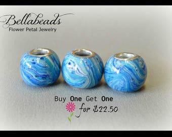 Flower Petal Jewelry, Sale, Funeral Flowers, Pet Beads, Fits Pandora, Flowers into beads, Large Hole Charm, Round BOGO