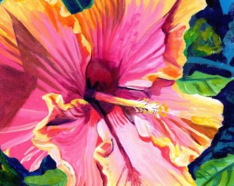 hibiscus art print 8x10 art prints hibiscus paintings hawaii hawaiian pink yellow tropical flowers fine art flower interior decor maui oahu