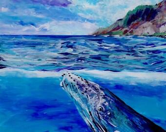 Kauai Humpback Whale Painting, Hawaiian Whales, Original Reverse Acrylic Art, Hawaii Paintings, Beach Ocean, Na Pali Coast, Ocean Animals