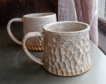 Pair of coffee mugs - speckled white stoneware