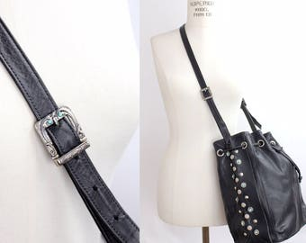 Vintage 80s Black Leather Bucket Bag | Western Cinch Top Leather Shoulder Bag | Studded Supple Leather Drawstring Purse