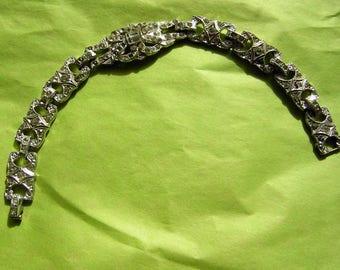 Vintage ART DECO Bracelet Rhinestone Paste 30s Paris Chic - CLEARANCE