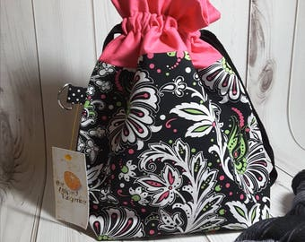 Pink and Black Drawstring Project Bag- Medium- Knitting- Crochet- Needlearts- Crafting- Artist