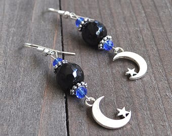 Silver Moon & Star Earrings Crescent Moons Micro Faceted Black Onyx Gemstone Beads and Blue Crystal Beads Sterling Silver Earwires