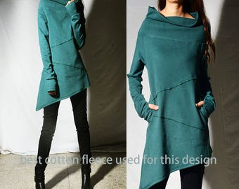 SALE - Eat pray love - cotton fleece asymmetrical thumb hole tunic / cowl neck tunic / suede thumb hole tunic / green winter tunic (Y1656)