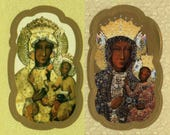 Fancy Die-Cut Stickers of Our Lady of Czestochowa with Metallic Highlights - Sheet of 9 in your choice of Image