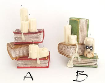 1/12th scale - stacked books with candles