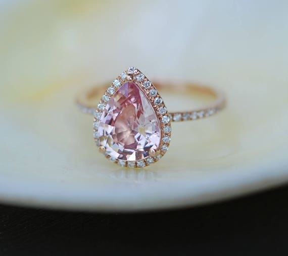Sapphire engagement rings by eidelprecious engagement ring peach champagne sapphire engagement ring 14k rose gold 249ct pear peach junglespirit Images
