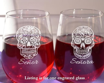 Personalized Engraved Custom Sugar Skull Glass~Four Designs~Dia de los Muertos~Day of the Dead~Valentine's Gift~Birthday Gift~Wedding Gift