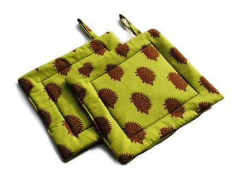 Quilted Pot Holders set of 2 Hedgehogs Olive Green Brown Hot Pads