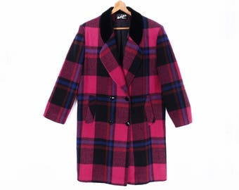 80's vintage PINK & PURPLE PLAID cloth coat // double breasted car coat // wool blend // velveteen collar // women's M L
