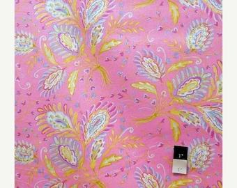 ON SALE Dena Designs LIDF008 Sunshine Heather Pink Linen Fabric 1 Yd