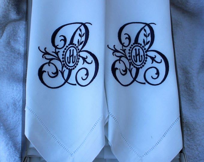 Monogrammed Linen Dinner Napkins or Table Runner, Custom monograms, Wedding Napkins, Head Table Decor, Bridal Luncheon, Cake Table Decor