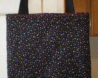 Polka Dot tote bag Bright Dots Retro Summer Handmade Purse Lunch Bag