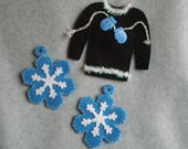 Embroidered Felt Christmas Ornaments OOAK Hand Stitched Ugly Christmas Sweater Mittens Felt Ornament Snowflakes Winter Ornament Ugly Sweater
