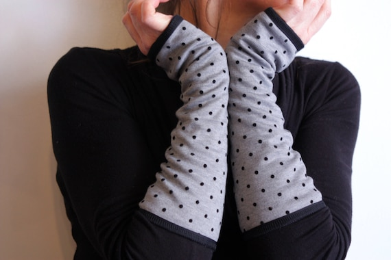 Long polka dot mittens gray and black. Winter cuff lined Jersey cotton