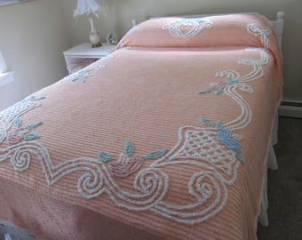 Vintage Chenille Bedspread Plush Mango Blue Pink Lotus Blossoms 89 x 99 - Shabby Perfect Summer Cottage