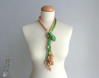 orange green necklace, long necklace, tassel necklace