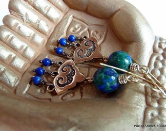 Breathe* Ethnic Earrings Boho Gemstone Earrings Natural Lapis-Chrysocolla Earrings Cobalt Blue Green Bronze Earrings Colorful Yoga Earrings