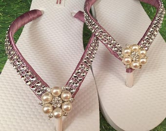 Annabeth Bridal Flip Flops, Custom Flip Flops, Pearl Gem Dancing Shoes, Pearl Bling Bridal Sandals, Wedding Flip Flops, Beach Wedding Shoes