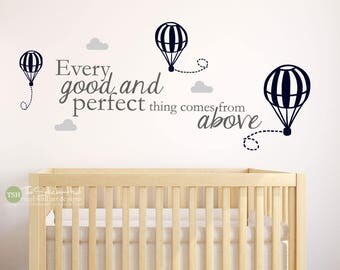 Every Good and Perfect Thing Comes From Above Decals - Nursery Bedroom - Word Art Vinyl Sticker - Wall Decals - Stickers Decals 1994