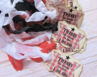 Wedding Favor Tags - Thank You Barbecue Tags - Set of 18  Ready to Ship- I Do BBQ - Vintage Rustic Backyard Wedding