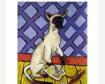 20 % off storewide Siamese Doing Needlepoint Cat Art Print  JSCHMETZ modern abstract folk pop art AMERICAN ART gift