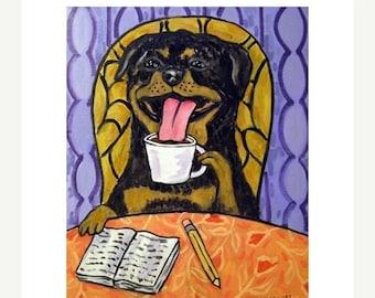 20 % off storewide Rottweiler at the Coffee Shop Dog Art Print 11x14 JSCHMETZ modern abstract folk pop art american ART gift