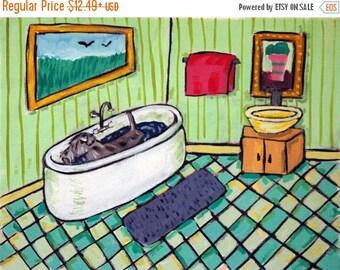 20 % off storewide Schnauzer Taking a Bath Bathroom picture Dog Art Print  image 2